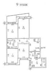 4-комнатная, улица Дзержинского 24. Центральный, частное лицо, 92 кв.м. План квартиры