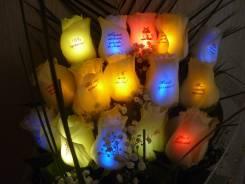 Светящиеся живые цветы с фото и надписями!