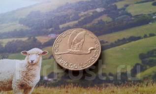Новая Зеландия. 2 $ 1999 г. Белая цапля. Большая красивая монета!