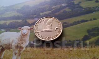 Новая Зеландия. 2 $ 1990 г. Белая цапля. Большая красивая монета!