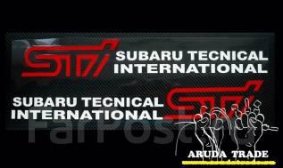 Оракал на кузов Subaru STI парные, бело-красные - 2шт