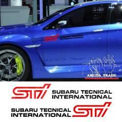 Оракал на кузов Subaru STI парные, черно-красные - 2шт