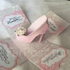 Открытка-коробочка - С Днём Рождения! (Туфелька) Ручная работа.