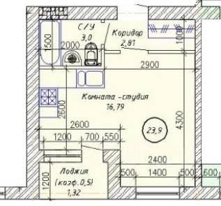 1-комнатная, улица Тихоокеанская 151. Краснофлотский, частное лицо, 24 кв.м.