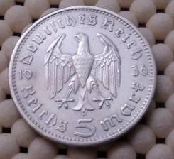 Германия 5 марок 1936г Ag 900 13,86гр