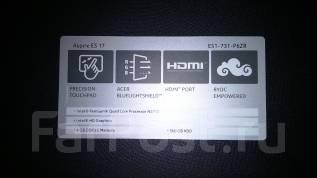 """Acer Aspire ES1. 17"""", 1,6ГГц, ОЗУ 4096 Мб, диск 500 Гб, WiFi, Bluetooth, аккумулятор на 4 ч."""