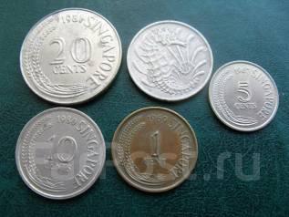 Подборка монет Сингапур, 5 шт