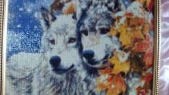 """Картина ручной работы """"Волки у клёна"""""""