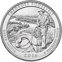 2016. 25 центов США. 34 Национальный парк. Теодор Рузвельт
