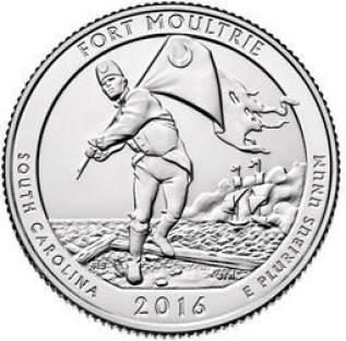 2016. 25 центов США. 35 Национальный парк. Форт Молтри