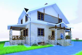 037 Zz Двухэтажный дом в Абакане. 100-200 кв. м., 2 этажа, 4 комнаты, бетон