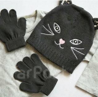 Шапка и перчатки. Рост: 116-122, 134-140 см