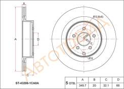 Диск тормозной зад NISSAN FUGA Y51 09-/INFINITI QX70 08-/Q50 13- SAT ST-43206-1CA0A