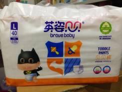 Подгузники-трусики Brave Baby L (9-13кг) 40 шт. Южный Китай. 9-14 кг 40 шт