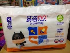 Подгузники-трусики Brave Baby XL (12+кг) 36 шт. Южный Китай. 12+ кг 36 шт