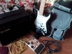 Электрогитара Fender, комбоусилитель Yamaha, педаль + чехол