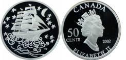 Канада 50 центов 2002 г. Парусник, серебро.