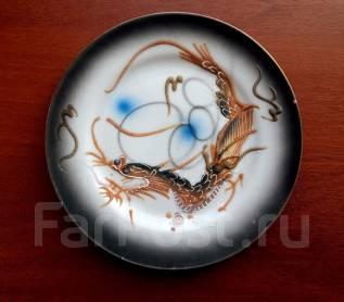 Раритет! Японская фарфоровая тарелка ручной работы Черный дракон. Оригинал