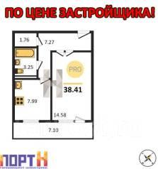 1-комнатная, улица Луговая 70б. Баляева, проверенное агентство, 38 кв.м. План квартиры