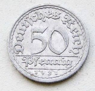 Старая Германия. Веймар. 50 пфеннигов 1921 г