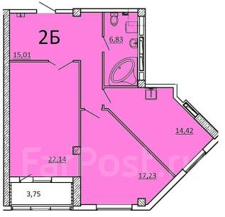 2-комнатная, улица Крыгина 105 стр. 2. Эгершельд, частное лицо, 79 кв.м.