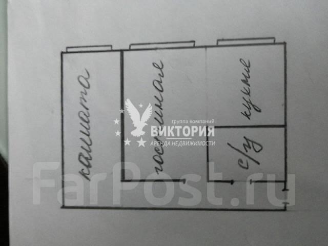 2-комнатная, улица Нерчинская 3. Центр, агентство, 44 кв.м. План квартиры