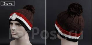 """Брендовая шапка """"Moncler"""", качество люкс. Унисекс. Темно-коричневый"""