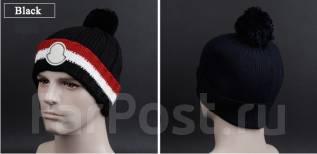"""Брендовая шапка """"Moncler"""", качество люкс. Унисекс. Черный цвет"""