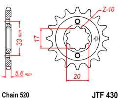 Звезда JT передняя JTF430.13 #520 K KX250 RM-Z250