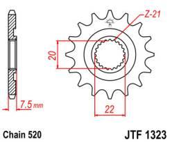Звезда JT передняя JTF1323.13SC #520 H CRF250