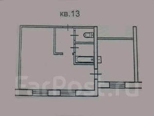 1-комнатная, улица Поселковая 2-я 32. Чуркин, частное лицо, 37 кв.м. План квартиры