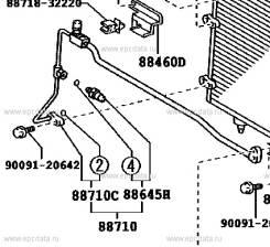 Трубка кондиционера. Toyota Windom, MCV30 Toyota Camry, MCV30, ACV35, ACV31, ACV30 Двигатели: 1MZFE, 2AZFE, 1AZFE