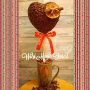 Кофейный топиарий-сердце ко дню всех влюбленных