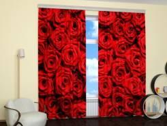 Фотошторы с изображением изумительных алых роз. Под заказ