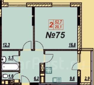 2-комнатная, анапа ленина. Море, агентство, 52 кв.м.