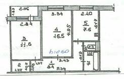 2-комнатная, улица Морская (п. Дунай) 20. Центр, частное лицо, 49 кв.м. План квартиры