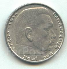 Германия 2 марки 1937 D Гинденбург Серебро