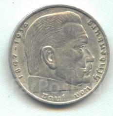 Германия 2 марки 1937 A Гинденбург Серебро