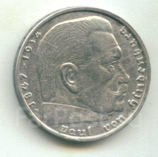 Германия 2 марки 1938 B Гинденбург Серебро