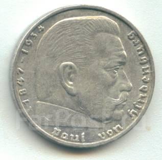 Германия 2 марки 1939 A Гинденбург Серебро