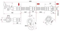 Шланг тормозной FR TOYOTA COROLLA/SPRINTER/LVN/CRE/TRN/MRN/CARIB/SPACIO 92-01 LH=RH