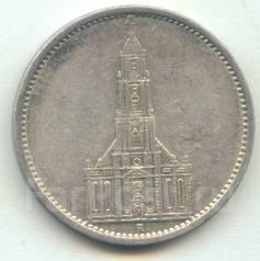 Германия 5 марок 1935 A Кирха Серебро