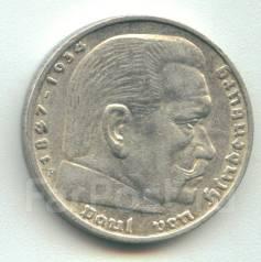 Германия 5 марок 1936 F Гинденбург Серебро