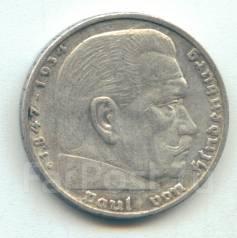 Германия 5 марок 1936 G Гинденбург Серебро