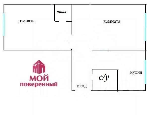 2-комнатная, улица Багратиона 6. Вторая речка, агентство, 43 кв.м. План квартиры