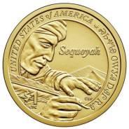 США 1 доллар 2017 г. Сакагавея-индианка. Секвойя. Азбука чероки.
