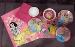 Набор посуды Принцессы из 5 предметов и подставка под еду+2полотенца