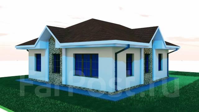 03 Zz Проект одноэтажного дома в Евпатории. до 100 кв. м., 1 этаж, 4 комнаты, бетон