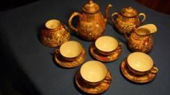 Чаиный сервиз из восьми предметов. Фарфор Сацума. Япония, кон. XIX в. Оригинал