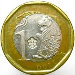 Монета 1 доллар Сингапур